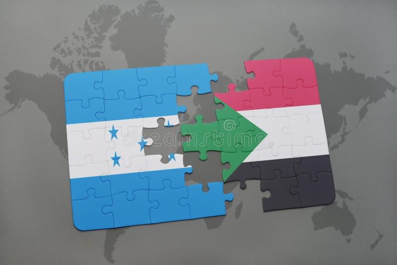 déconcertez avec le drapeau national du Honduras et du Soudan sur une carte du monde illustration de vecteur