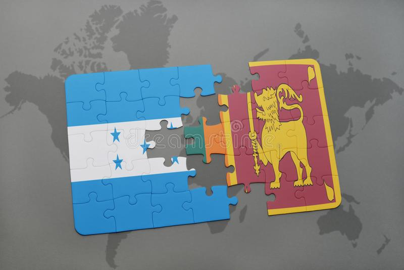 déconcertez avec le drapeau national du Honduras et du Sri Lanka sur une carte du monde illustration de vecteur