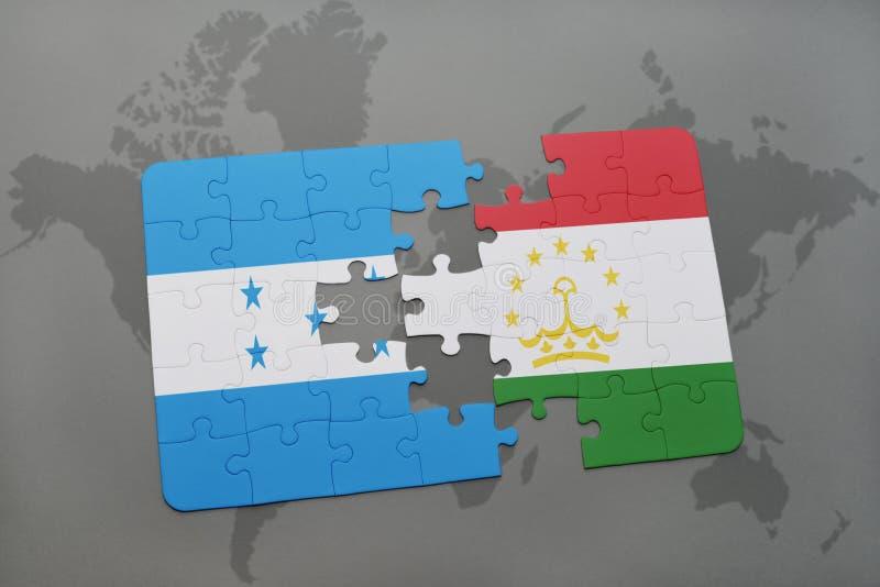 déconcertez avec le drapeau national du Honduras et du Tadjikistan sur une carte du monde illustration de vecteur
