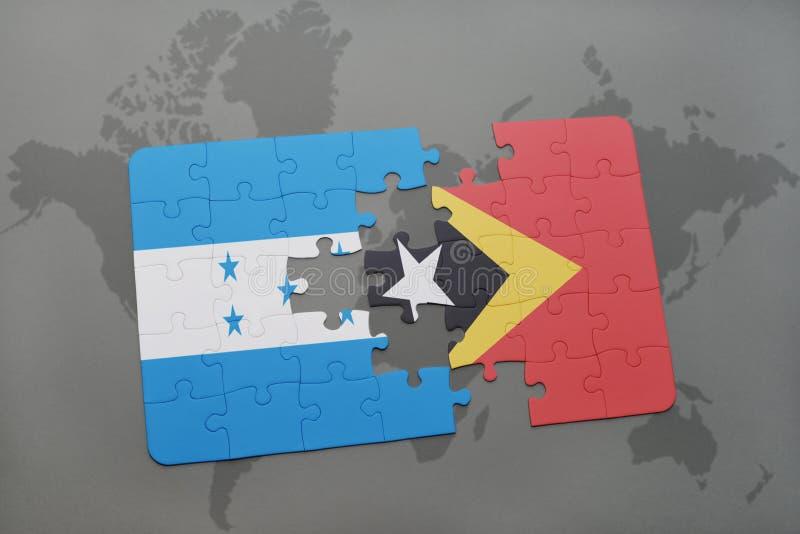 déconcertez avec le drapeau national du Honduras et du Timor oriental sur une carte du monde illustration libre de droits