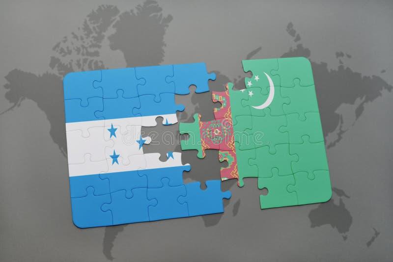 déconcertez avec le drapeau national du Honduras et du Turkménistan sur une carte du monde illustration stock