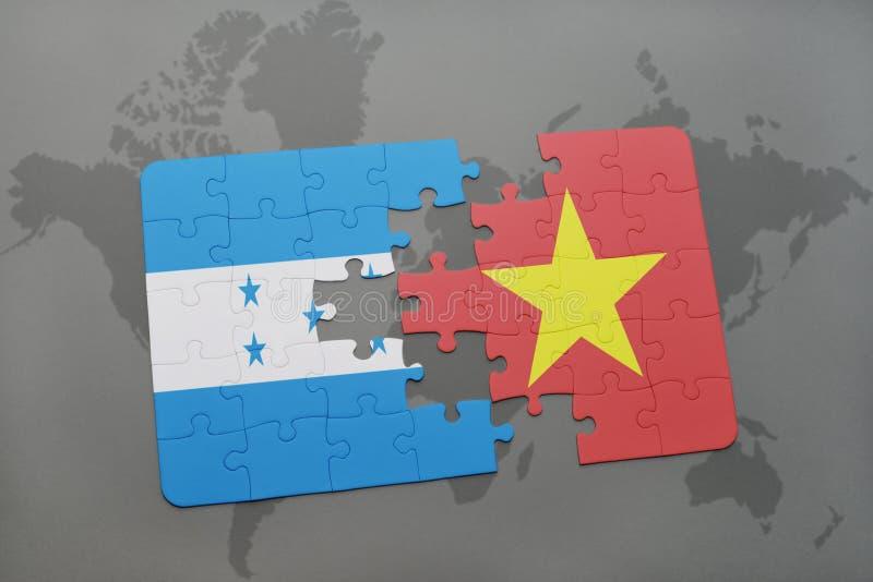 déconcertez avec le drapeau national du Honduras et du Vietnam sur une carte du monde illustration stock