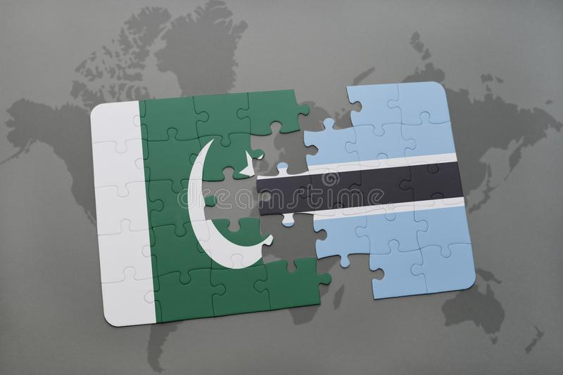 déconcertez avec le drapeau national du Pakistan et du Botswana sur un fond de carte du monde illustration de vecteur