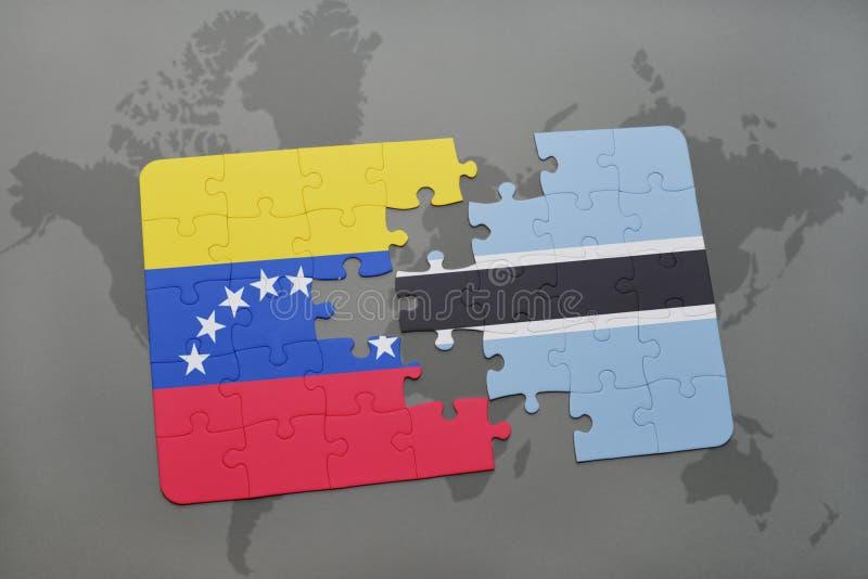 déconcertez avec le drapeau national du Venezuela et du Botswana sur une carte du monde illustration de vecteur