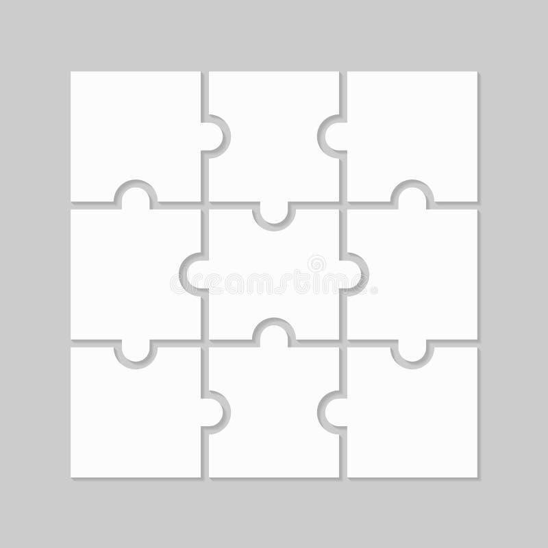 Déconcertez neuf parts en blanc illustration stock