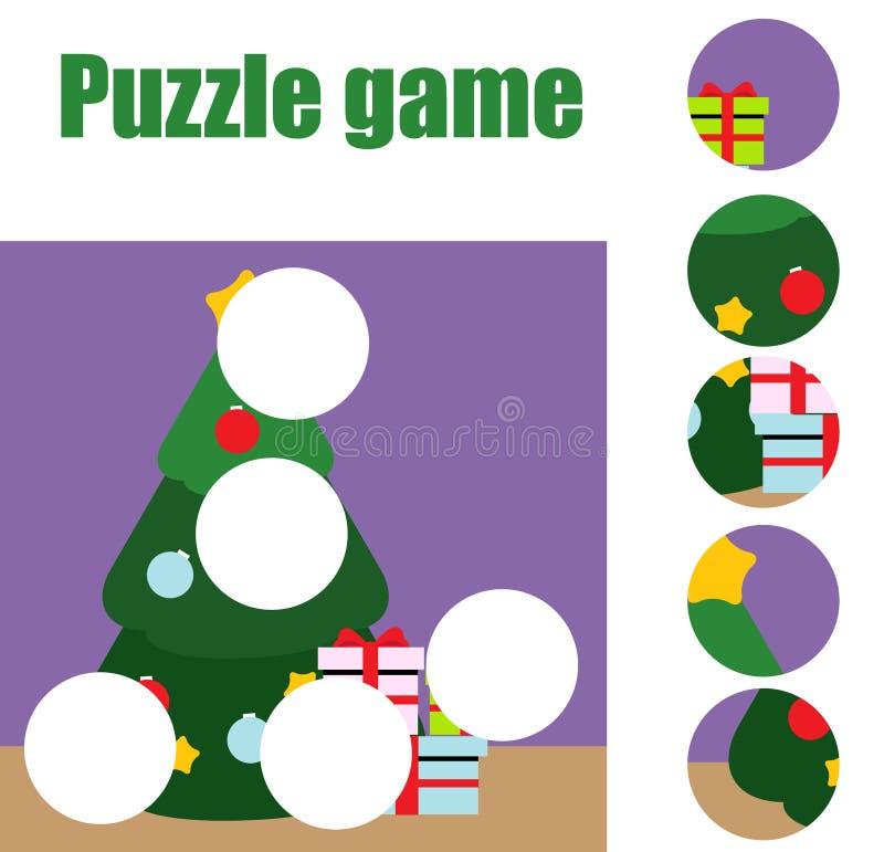 Déconcertez pour des enfants en bas âge Jeu éducatif assorti d'enfants Les morceaux de match et complètent le tableau de la situa illustration de vecteur