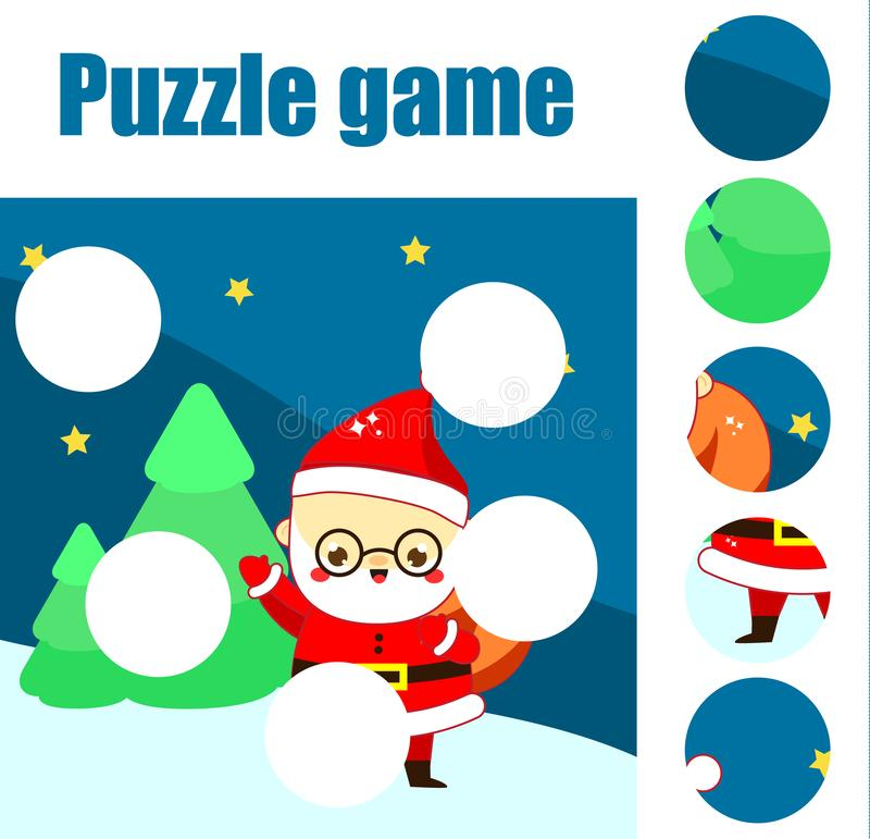 Déconcertez pour des enfants en bas âge Jeu éducatif Complétez le tableau de la situation avec Santa Claus thème en quelques de f illustration de vecteur