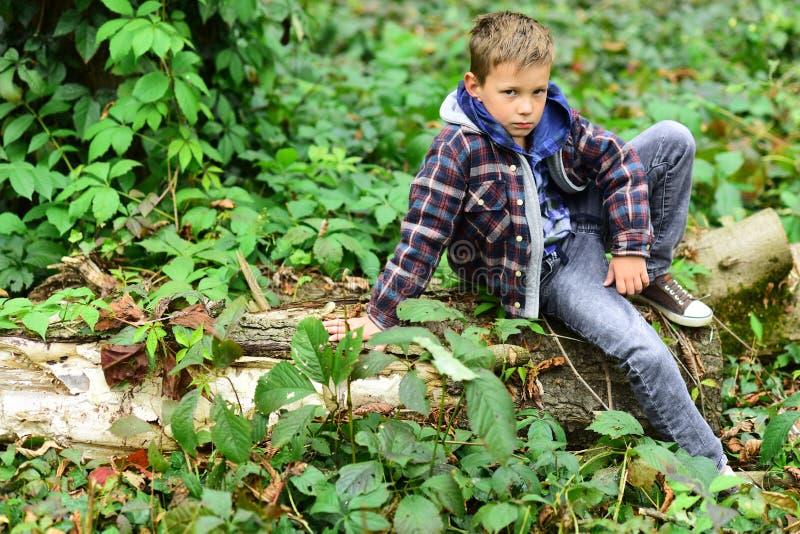Décontracté et paisible Peu de garçon détendre se reposer sur l'arbre Peu garçon détendent en bois Détendez, la vie est beau images libres de droits