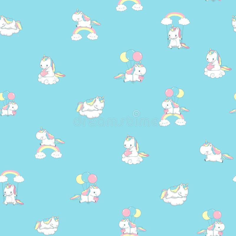 Décor d'Unicorn Rainbow Seamless Pattern Print pour le mur féerique de pièce d'enfant Amusement heureux Pony Fly sur l'éléme illustration libre de droits
