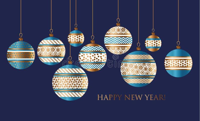Décor de babiole de Noël de bleu et d'or illustration de vecteur