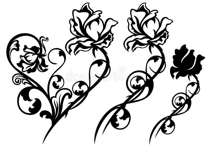 Décor de fleur de Rose illustration stock