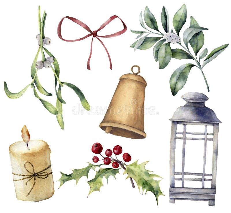 Décor de Noël d'aquarelle avec la plante et les baies Eucalyptus peint à la main, snowberry, cloche, arc rouge, bougie, gui illustration de vecteur