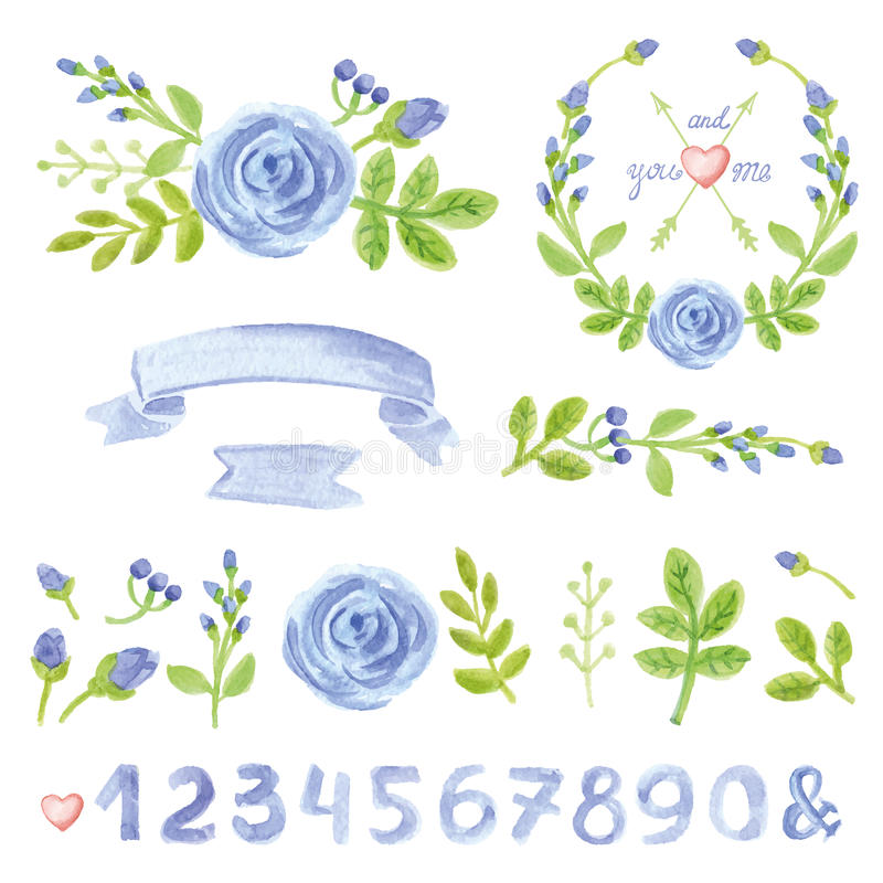 Décor floral bleu d'aquarelle réglé avec des nombres illustration libre de droits