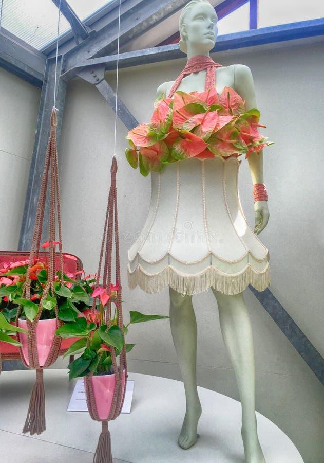 Décor lilly floristique rose et simulacre de calla en serre chaude de fleur, image libre de droits