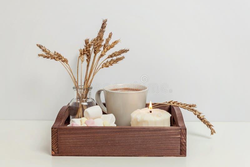 Décor naturel de maison d'eco avec la guimauve et la bougie de café de tasse sur le plateau en bois photos stock