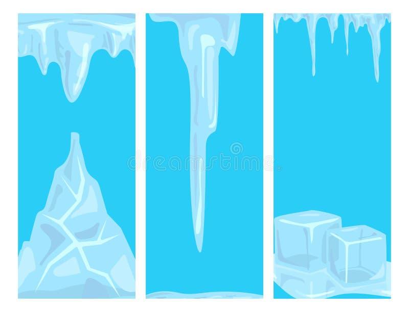 Décor neigeux arctique d'hiver d'eau froide de design de carte de glaçons de congères de calottes glaciaires illustration stock