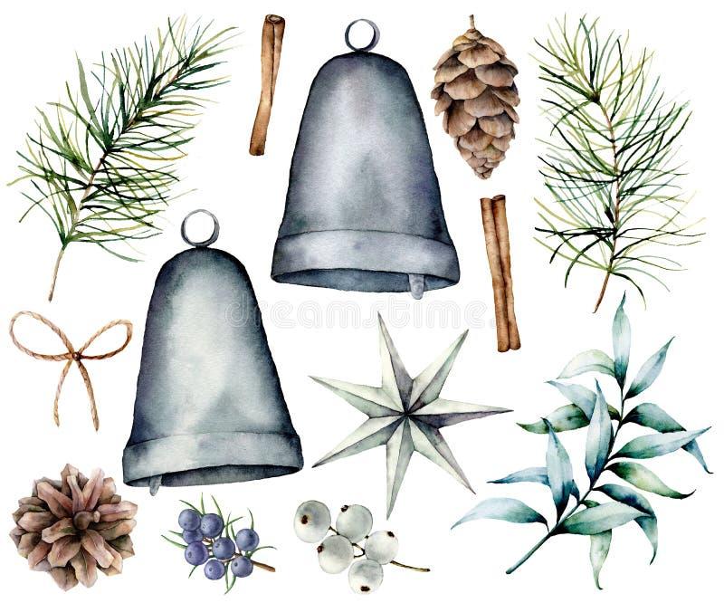 Décor scandinave de Noël d'aquarelle Branches de sapin et cônes peints à la main, cloches argentées, étoile, genévrier, snowberry illustration de vecteur
