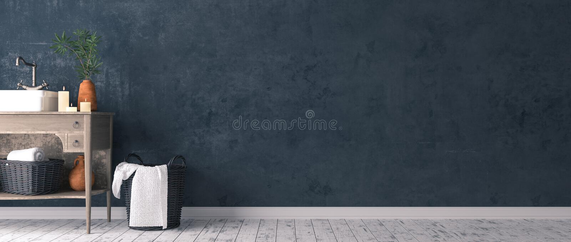 Décor simple rustique d'intérieur de salle de bains illustration stock