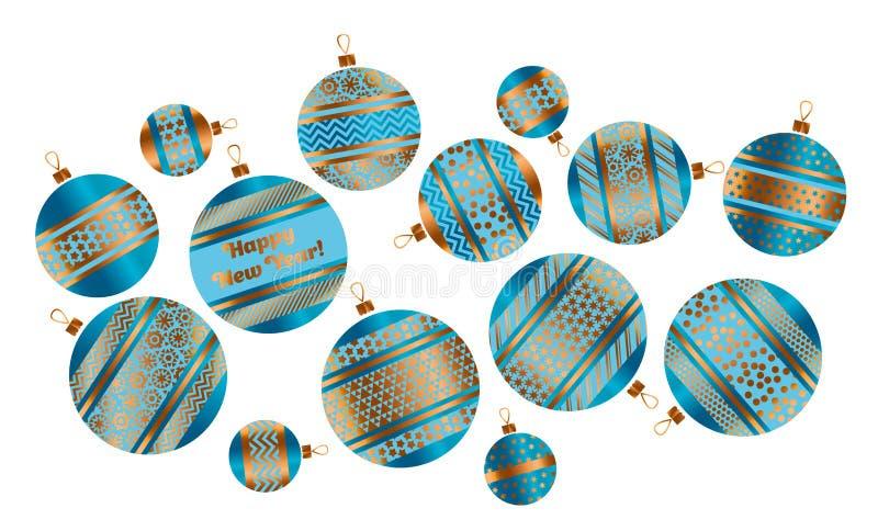 Décor stylisé assorti de babiole de Noël illustration de vecteur