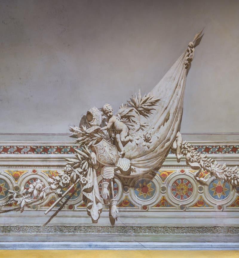 Décoration à l'intérieur du palais de Normanni de dei de Palazzo des Normands ou du Royal Palace de Palerme La Sicile, Italie du  images stock