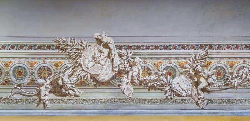 Décoration à l'intérieur du palais de Normanni de dei de Palazzo des Normands ou du Royal Palace de Palerme La Sicile, Italie du  photographie stock