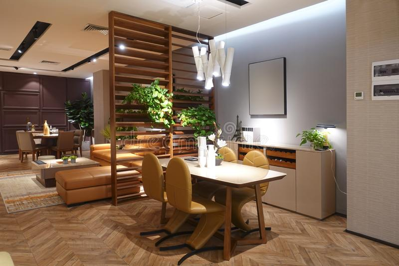 décoration à la maison moderne de salon de luxe de salle à manger images stock