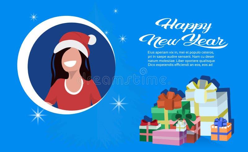 Décoration actuelle de boîte-cadeau de chapeau d'avatar de visage de femme de brune de bonne année de concept rouge de Joyeux Noë illustration stock