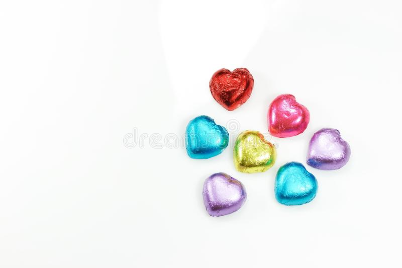 Décoration colorée de coeur pour le fond du jour de la valentine images stock