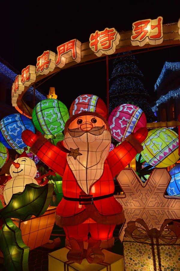 Décoration colorée de lanterne de Noël à la place Macao Chine de Senado photo libre de droits