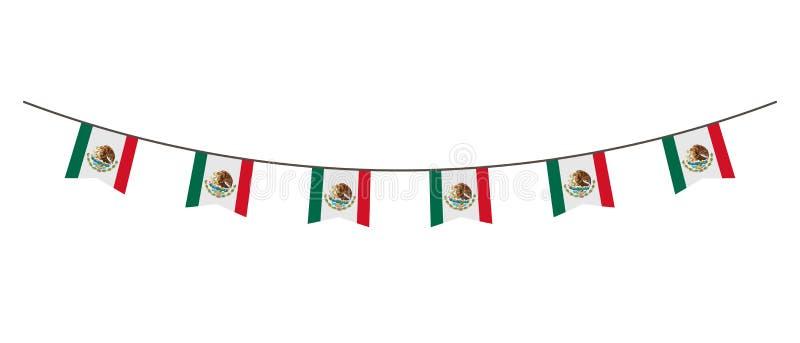 Décoration d'étamine en couleurs de drapeau du Mexique Guirlande, fanions sur une corde pour la partie, carnaval, festival, céléb illustration libre de droits