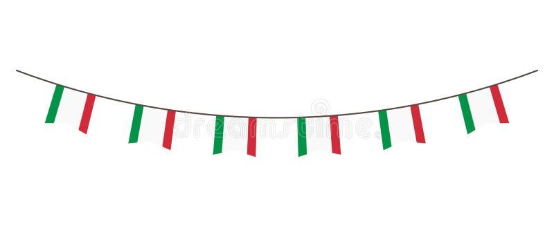 Décoration d'étamine en couleurs de drapeau de l'Italie Guirlande, fanions sur une corde pour la partie, carnaval, festival, célé illustration de vecteur