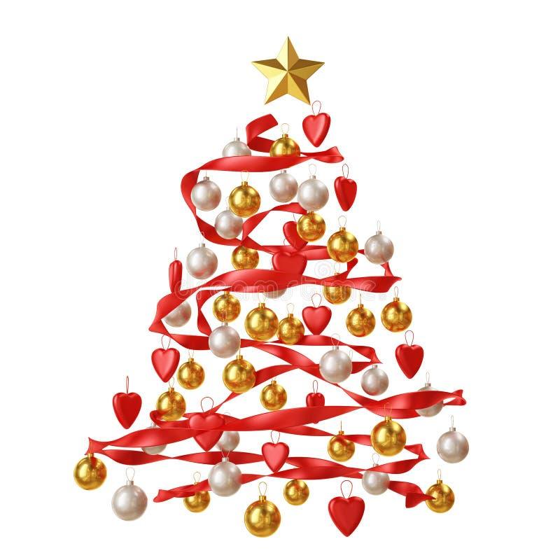 Décoration d'arbre de Noël d'isolement sur le fond blanc image stock