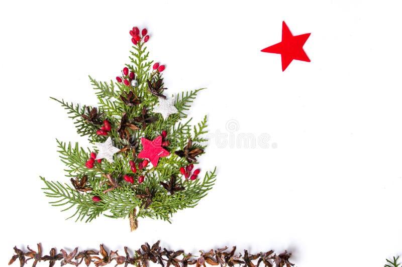 Décoration d'arbre de Noël d'isolement sur le fond blanc illustration stock