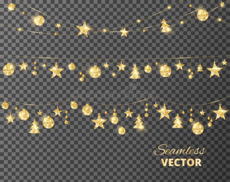 Décoration d'or de Noël d'isolement sur le fond transparent Cadre de vecteur de vacances, frontière illustration libre de droits
