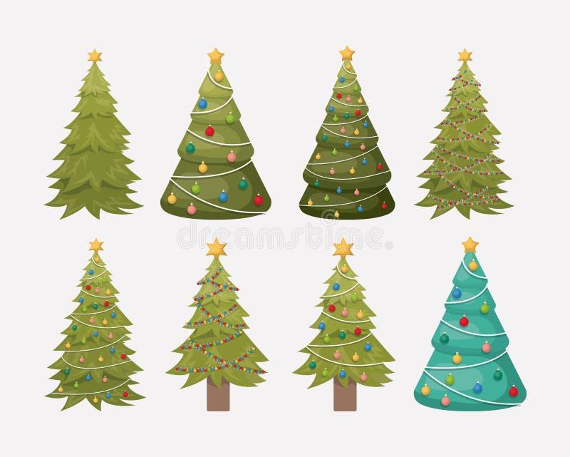 Décoration d'ensemble d'arbres de pins de Noël illustration libre de droits