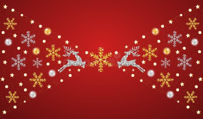 Décoration d'or et argentée de Noël an rouge neuf heureux de fond Cerfs communs argentés et d'or, flocons de neige Calibre pour l illustration stock