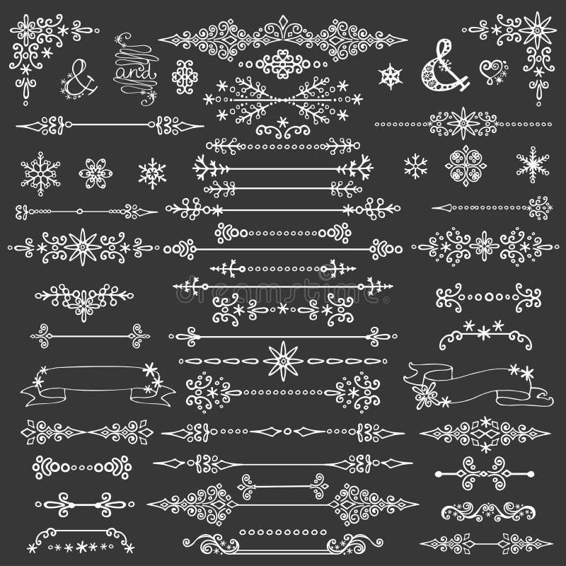 Décoration d'hiver, diviseurs de bordes Noël, nouvelle année illustration de vecteur