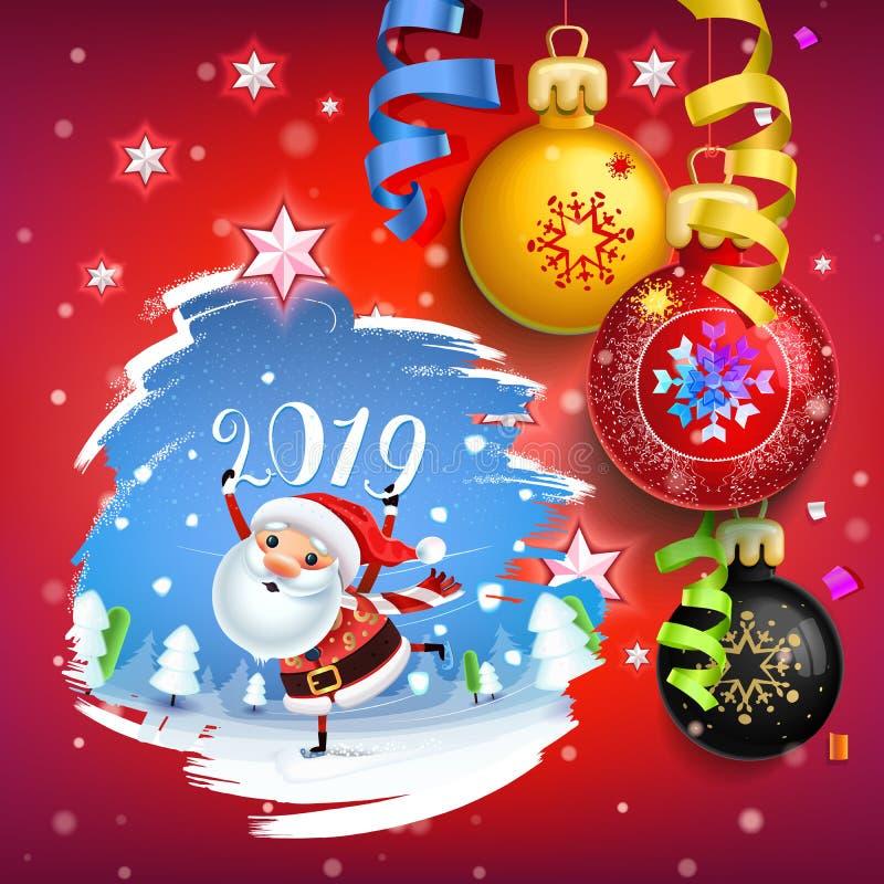 Décoration de 2019 bonnes années d'une carte d'affiche et d'un fond de vacances de Joyeux Noël illustration libre de droits