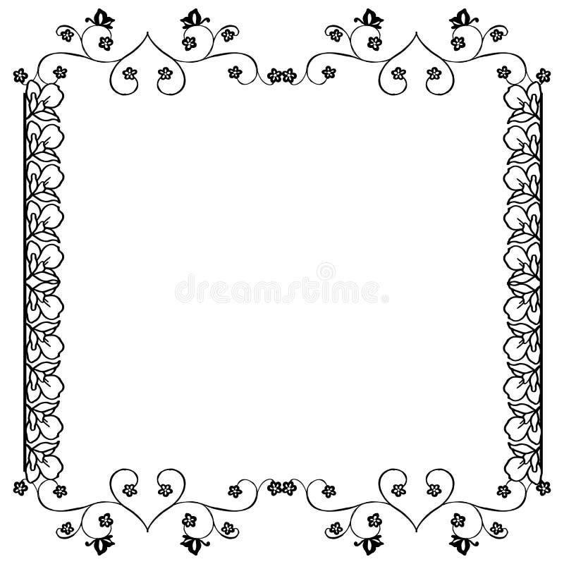 Décoration de carte de voeux, avec la frontière mignonne de modèle de cadre de fleur sur des couleurs noires et blanches Vecteur illustration stock