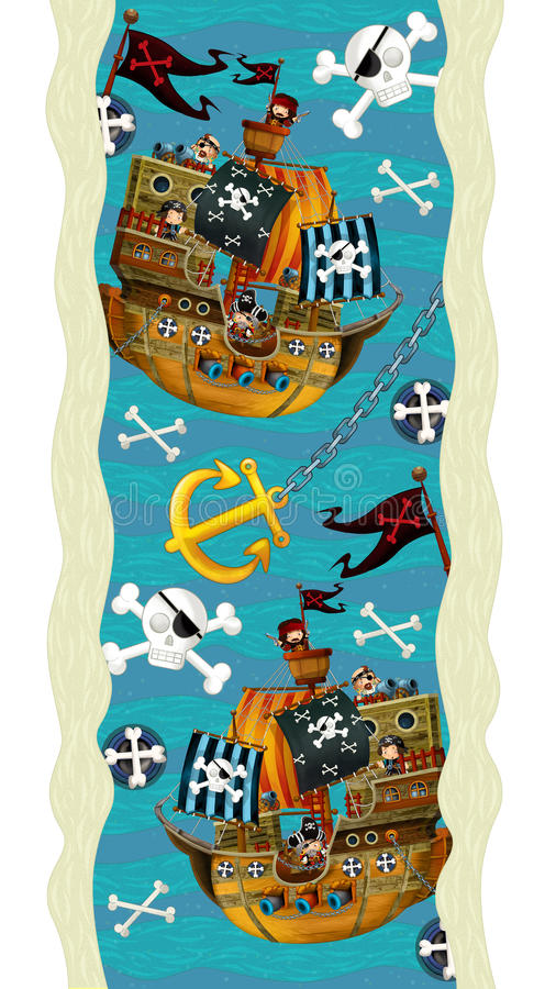 d coration de conception avec des bateaux et des pirates papier peint illustration pour. Black Bedroom Furniture Sets. Home Design Ideas