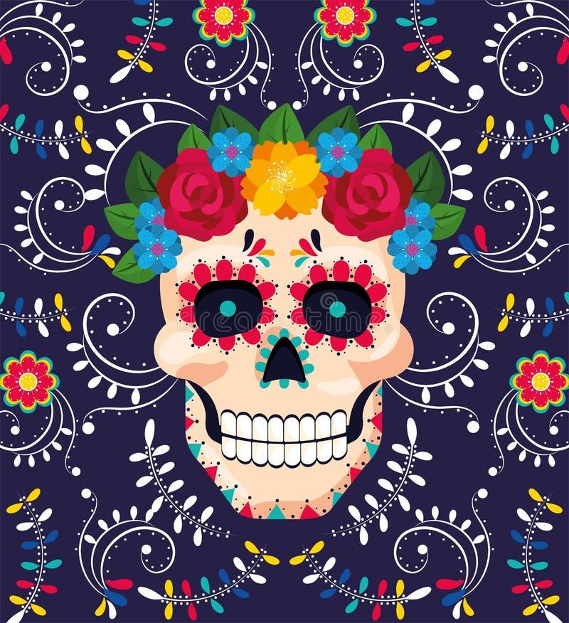 Décoration de crâne d'homme avec des fleurs à l'événement mexicain illustration de vecteur
