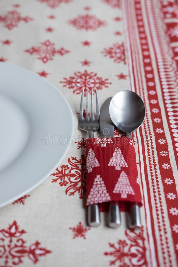 Décoration de dîner de Chrsitmas pour la table photo libre de droits