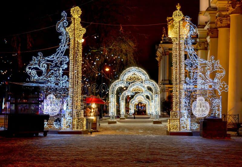 Décoration de fête du centre de St Petersburg pour le nouveau y images stock