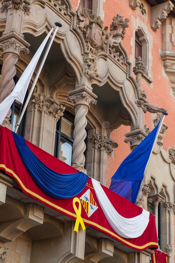 Décoration de festivité de maires Hall de ville de Granollers image libre de droits