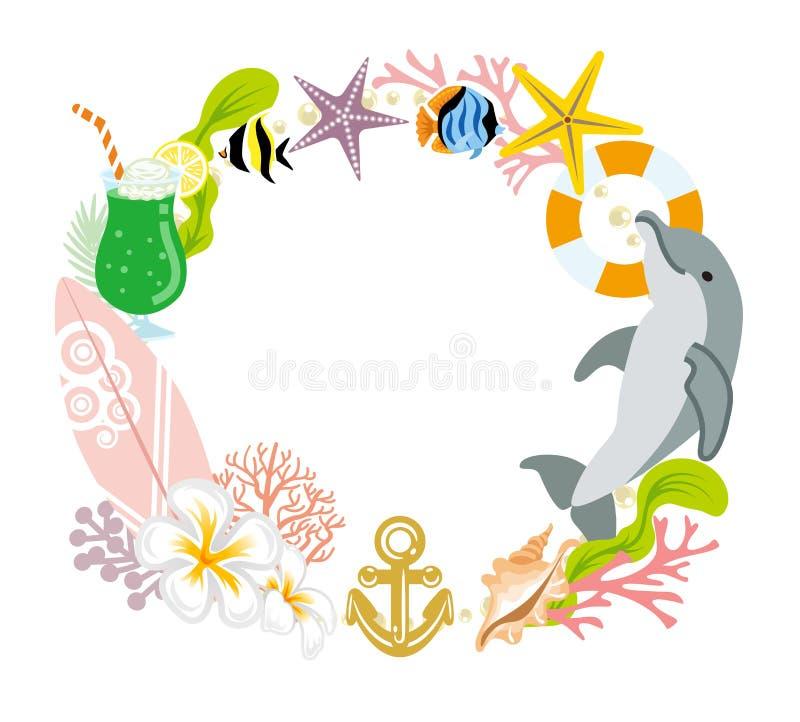 Décoration de guirlande d'été - dauphin illustration libre de droits