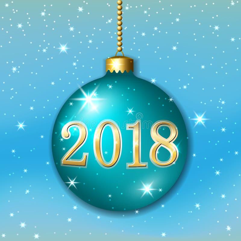Décoration 2017 de Joyeux Noël sur le fond bleu bille 3d Étoiles, scintillement, nombre, babiole verte, flocons de neige blancs illustration libre de droits
