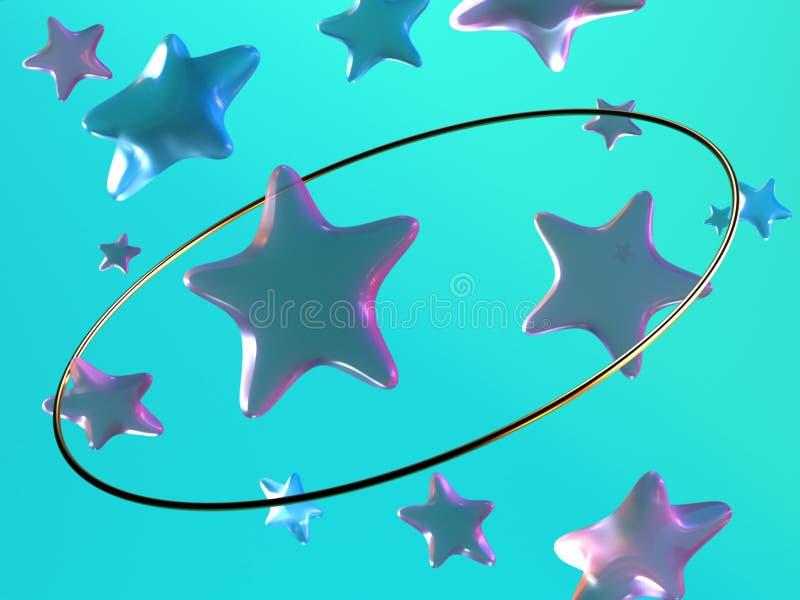 décoration de lévitation de cercle d'or d'étoile bleue de rose du rendu 3d illustration de vecteur