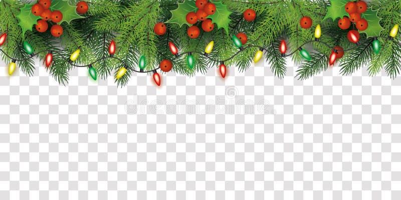 Décoration de la bordure supérieure de l'arbre de Noël avec baies sèches et feux de fées illustration libre de droits