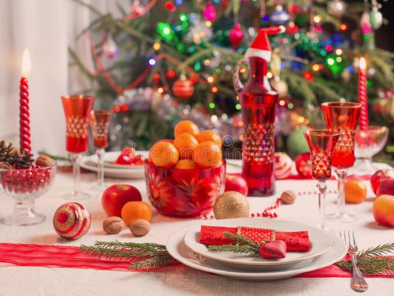 Décoration de la table de Noël images stock