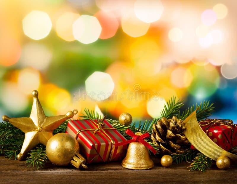 Décoration de maison de Noël sur le fond abstrait de fête photos stock
